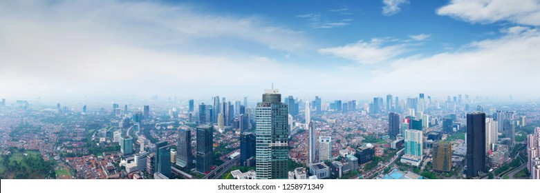 JAKARTA - Indonesia. December 12, 2018: Panorama Aerial scenery photograph of Jakarta city with high buildings in the morning