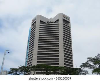JAKARTA, INDONESIA - December 18, 2016: BNI building on Sudirman road.