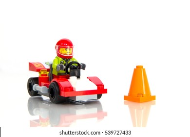 Jakarta, Indonesia - December 20, 2016 : Lego Racing Collection on White Background