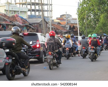 JAKARTA, INDONESIA - December 20, 2016: Congested street during rush hour in Roxy district.