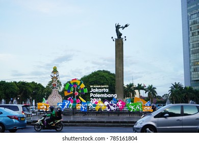 JAKARTA, INDONESIA - December 28, 2017: Asian Games 2018 Sign at Bundaran Hotel Indonesia or Hotel Indonesia traffic circle (roundabout)