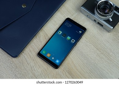 Jakarta, Indonesia - December 30, 2018: The Xiaomi Redmi Note 5 Android smartphone features a 5.99-inch IPS LCD display and a resolution of 2160x1080 pixels with an aspect ratio of 18:9.