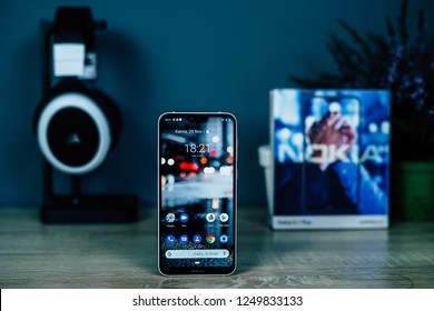 Jakarta, Indonesia - December 5, 2018: The Nokia 6.1 Plus Android One smartphone features a 5.8-inch all-screen front with a notched 19:9 panel.