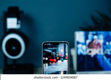 Jakarta, Indonesia - December 5, 2018: Design notch on Nokia 6.1 Plus Android smartphone.