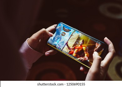 Jakarta, Indonesia - December 6, 2018: The Realme C1 Android smartphone playing Mobile Legends: Bang Bang.