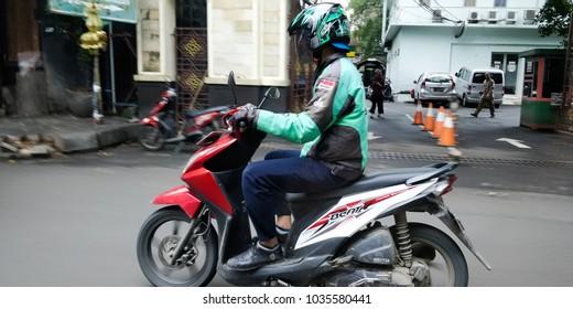 Jakarta, Indonesia - Feb 28, 2018 : Go jek on the road.
