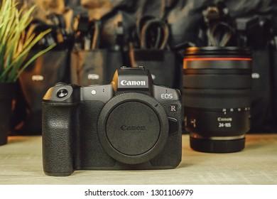 Jakarta, Indonesia - February 1, 2019: Canon EOS R mirrorless camera has a 30.3-megapixel full frame BSI CMOS sensor.