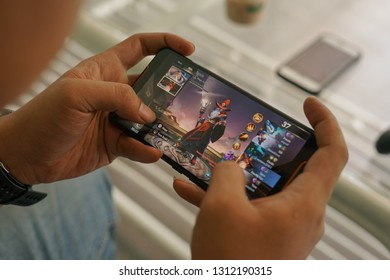 Jakarta, Indonesia - February 14, 2019:   The Flaming Ignis skin Arena of Valor on Asus ROG Phone gaming smartphone.