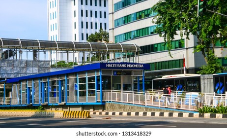 Jakarta, Indonesia - February 14, 2019: Transjakarta bus shelter near Bank of Indonesia or Bank Indonesia Shelter.