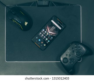 Jakarta, Indonesia - February 17, 2019: The ASUS ROG Phone features a 6-inch FHD+ AMOLED display with HDR screen and a 90Hz refresh rate.