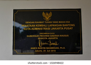 Jakarta, Indonesia - February 17, 2019: the inauguration of the Jakarta governor, Baswedan, for the Banteng Field Park, Jakarta. One of the improvements made by governor Anies Baswedan.
