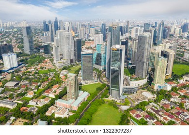 JAKARTA - Indonesia. February 18, 2019: Beautiful Jakarta skyscrapers in Central Business District