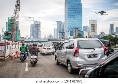 Jakarta, Indonesia - February 19, 2018: Heavy traffic on the streets of Jakarta, Indonesia.