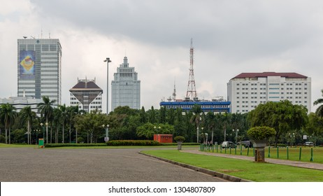 Jakarta, Indonesia - February 2 2015: Ministry of Transport, Ministry for Development of Least Developed Regions, Constitutional Court, Radio RRI, Ministry for Human Development and Cultural Affairs