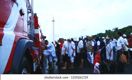 Jakarta, Indonesia - February 21, 2019: Muslims ablution before praying together at Monas (National Monument).