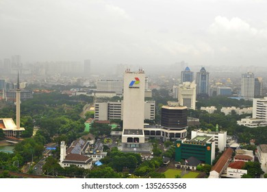 Jakarta, Indonesia - February 21, 2019: Aerial view of Pertamina Building and surrounding buildings, Jakarta has many skyscrapers compared to other cities in Indonesia.