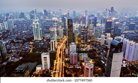 Jakarta, Indonesia. February 22, 2018: Aerial view of Sudirman central business district in South Jakarta at night. Jakarta is the capital city of Indonesia