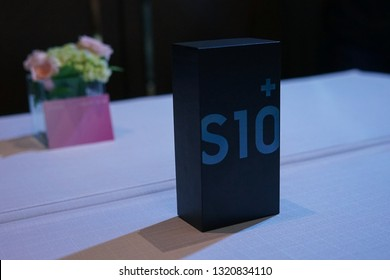 Jakarta, Indonesia - February 23, 2019: Box of the Samsung Galaxy S10 Android flagship smartphone.