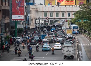JAKARTA, INDONESIA - February 3, 2017: Traffic in Jakarta