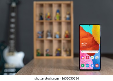 Jakarta, Indonesia - February 4, 2020: The Samsung Galaxy A51 Android smartphone has a 6.5-inch Super AMOLED panel with an Infinity-O design.