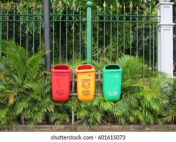 JAKARTA, INDONESIA - February 5, 2017: Three garbage containers in Monas area.