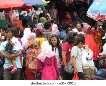 JAKARTA, INDONESIA - February 5, 2017: Crowd of people were on the street market in Tanah Abang district.