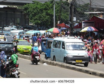 JAKARTA, INDONESIA - February 5, 2017: Traffic congestion in Tanah Abang district.