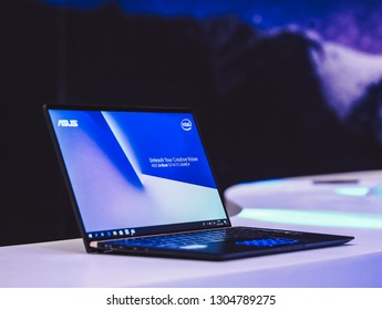 Jakarta, Indonesia - February 5, 2019: The Asus ZenBook UX333 premium laptop has a 13.3-inch full HD NanoEdge display and NumPads integrated into touch-enabled trackpads.