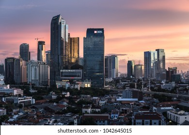 Jakarta, Indonesia - February 8 2018: Stunning twilight over the business district skyline in Jakarta, Indonesia capital city.