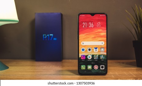 Jakarta, Indonesia - February 8, 2019: The OPPO R17 Pro has a 6.4-inch Full HD+ AMOLED display with a waterdrop notch.
