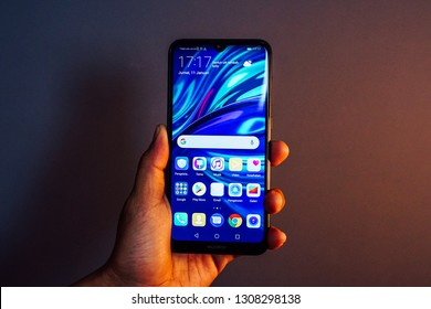 """Jakarta, Indonesia - February 9, 2019: The Huawei Y7 Pro 2019 Android smartphone has a 6.26"""" LCD panel with HD+ resolution, waterdrop notch and a 19:9 ratio."""