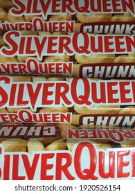 Jakarta, Indonesia - Febryary 2021: SilverQueen is popular as a well-known chocolate brand in Indonesia, even worldwide. The package is chocolate, which is always synonymous with almonds and cashews.