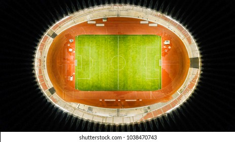 JAKARTA, Indonesia. Jan 12, 2018: Aerial view of Senayan soccer stadium after the renovation ready for the Asian Games 2018