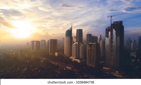 JAKARTA, Indonesia. Jan 12, 2018: Aerial view of gorgeous Jakarta cityscape at sunrise.