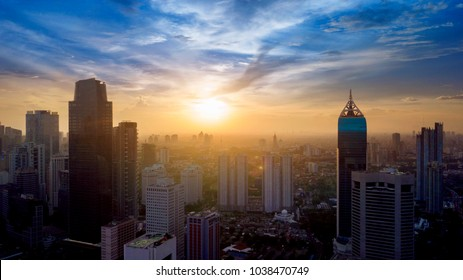 JAKARTA, Indonesia. Jan 18, 2018: Aerial view of Jakarta Central Business District shot from a drone at sunrise