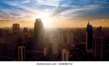 JAKARTA, Indonesia. Jan 18, 2018:Aerial view of Jakarta Central Business District at sunrise