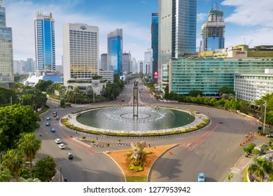 JAKARTA - Indonesia. January 02, 2019: Beautiful scenery of Hotel Indonesia Roundabout and Selamat Datang Monument in Jakarta