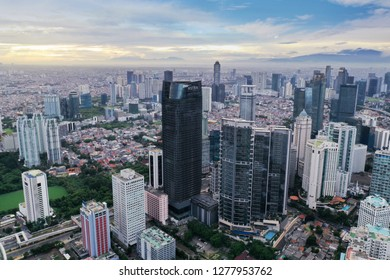 JAKARTA - Indonesia. January 03, 2019: Aerial view of Astra tower with located in South Jakarta Central Business District
