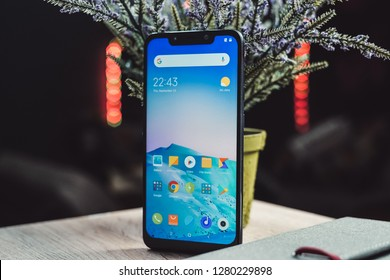 Jakarta, Indonesia - January 10, 2019: The Xiaomi Pocophone F1 has a large 6.18-inch IPS display, a Qualcomm Snapdragon 845 SoC and 6 GB of RAM.