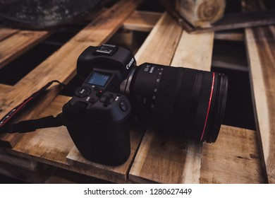 Jakarta, Indonesia - January 11, 2019: The Canon EOS R is the first full-frame mirrorless camera to use the new RF mount. It's built around the same 30 megapixel Dual Pixel CMOS sensor.