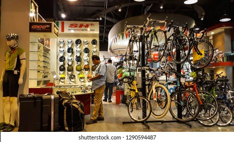 4c6c4676bd9 Jakarta, Indonesia - January 12, 2019: Visitor at bicycle store in Senayan  Trade