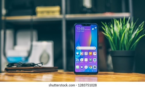 Jakarta, Indonesia - January 14, 2019: The Huawei Nova 3i Android smartphone has a 6.3-inch 2340x1080p IPS LCD display with notch and 19:9 aspect ratio.