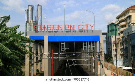 Jakarta, Indonesia - January 16, 2018: BNI City Railway Station. Station for Soekarno-Hatta Airport Rail Link service