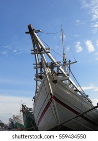JAKARTA, INDONESIA - January 18, 2017: Phinisi, Indonesian traditional schooners, line up in Sunda Kelapa Harbor.