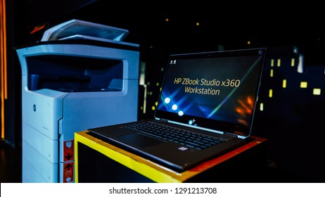 Jakarta, Indonesia - January 22, 2019: The HP ZBook Studio x360 mobile workstation has a 15.6 inch diagonal laptop designed to handle your biggest projects.