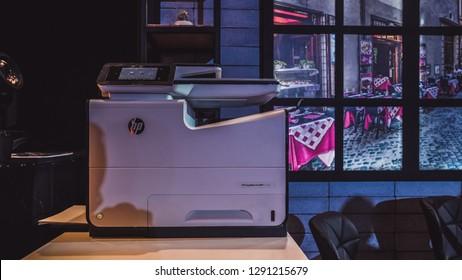 Jakarta, Indonesia - January 22, 2019: The printer HP LaserJet MFP M72625dn.