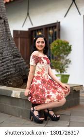 6bb91633e Jakarta, Indonesia - January, 22 2019: Lifestyle portrait of beautiful  hipster girl wearing