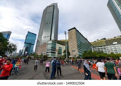 Jakarta, Indonesia, January 29, 2017, CFD (Car free day) street atmosphere on M.H Thamrin street Jakarta.