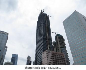 JAKARTA, INDONESIA - January 29, 2017: Skyscrapers on Sudirman road.