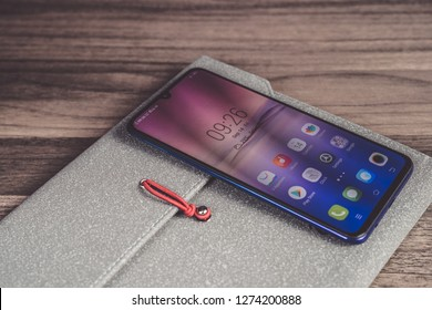 Jakarta, Indonesia - January 4, 2018: The Vivo V11 Pro Android smartphone comes with a 6.41-inch Super AMOLED screen and powered by Qualcomm Snapdragon 660 SoC.